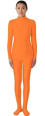 JustinCostume Lycra Spandex Zentai Unitard Catsuit, Orange, Small - Lycra Turtleneck Dress