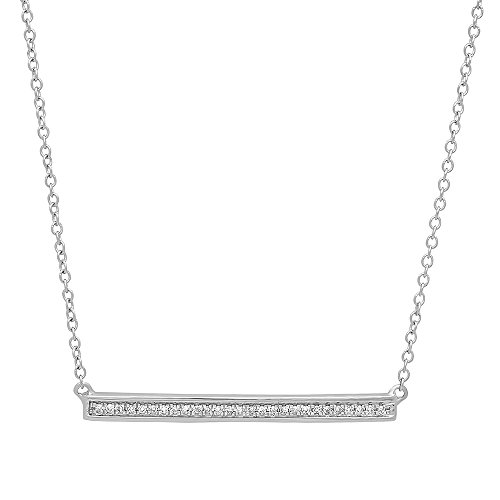 Dazzlingrock Collection 0.12 Carat (ctw) 14K White Diamond Bar Shape Fashion Pendant with 18 Inch Silver Chain, White Gold ()