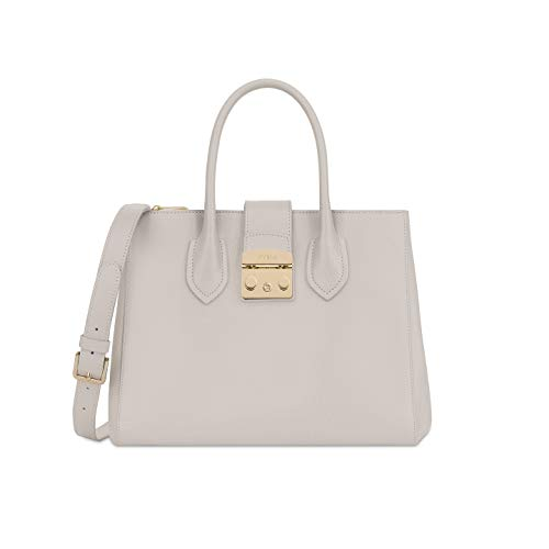 Furla Metropolis Ladies Medium White Perla Leather Tote 978104