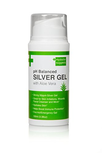 First Aid Silver Gel: pH Balanced Silver Gel with Aloe Vera - Strong 30ppm Silver Gel in a 3.38oz Easy Pump Container: Use for Cuts, Scrapes, Burns, Wound Care and More (1) (Wound Care Healing)
