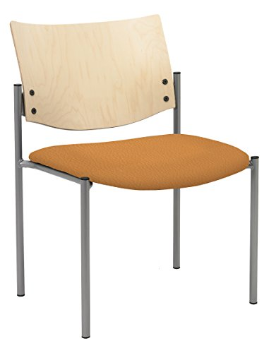 - Evolve Series Side / Guest Chair, Armless with Natural Wood Back, Vinyl seat