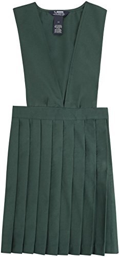 French Toast School Uniform Girls V-Neck Pleated Jumper, Hunter Green, 18