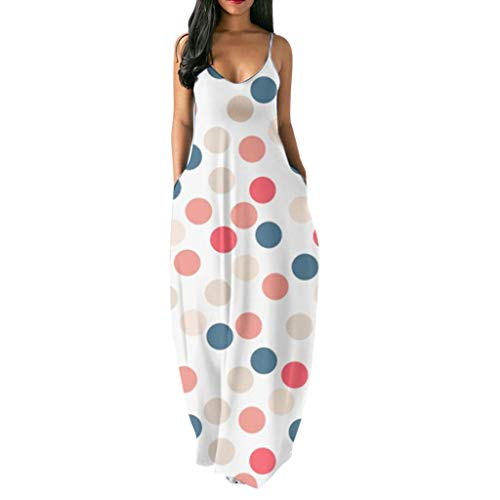 - Summer Women Rainbow Print Spaghetti Strap Long Maxi Dress Sexy Flowy Beach Sundress with Pockets