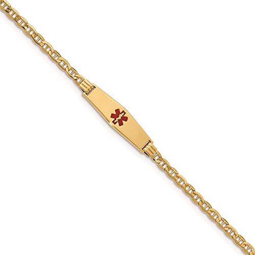 14K Yellow Gold Anchor Link 7.5 MM Engravable ID Diamond Shape Medical Alert Bracelet, 7