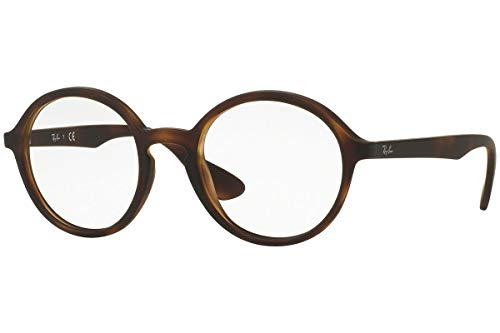 Ray-Ban RX7075 Round Eyeglass Frames, Rubber Havana/Demo Lens, 49 mm