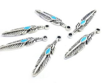 Native American Feather Charms, 50 pc Silver Tone Pendants 27mm x 6mm, Faux Turquoise ()