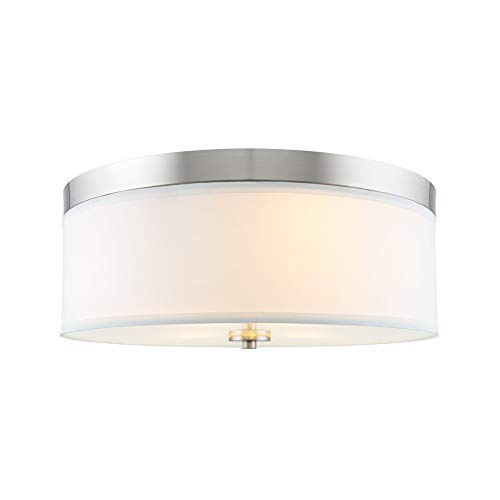 "Kira Home Walker 15"" Mid-Century Modern 3-Light Flush Mount Ceiling Light, White Fabric Shade + Round Glass Diffuser, Brushed Nickel Finish"