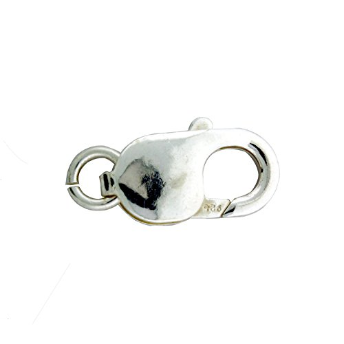 Large Sterling Silver Lobster Claw - Sterling Silver Large Lobster Claw Clasp with Open Jump Ring, 9 x 18mm
