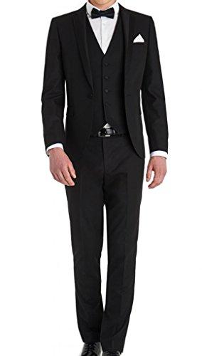 AMORSTORE Men's Slim Fit Black Dress 3 piece Suits Sets