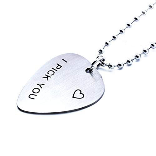 (omodofo I Pick You Stainless Steel Guitar Pick Pendant Necklace Music Lover Musician's Gift for Guitar Player (I Pick You))