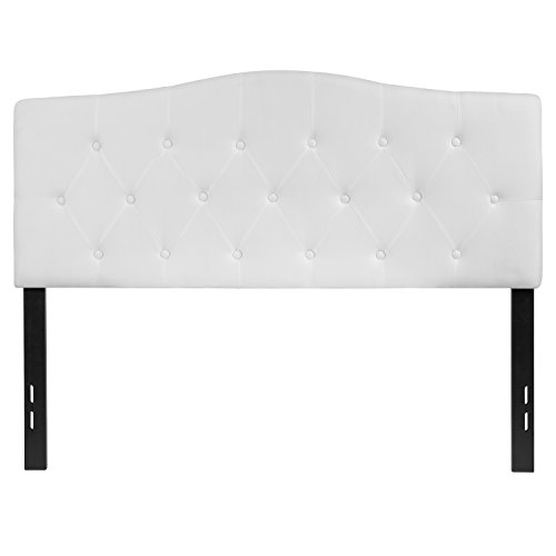 Flash Furniture Cambridge Tufted Upholstered Full Size Headboard in White Fabric - HG-HB1708-F-W-GG