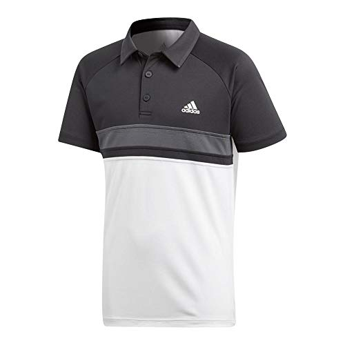 adidas Boys Youth Tennis Boys Club Color Block Polo, White, Large