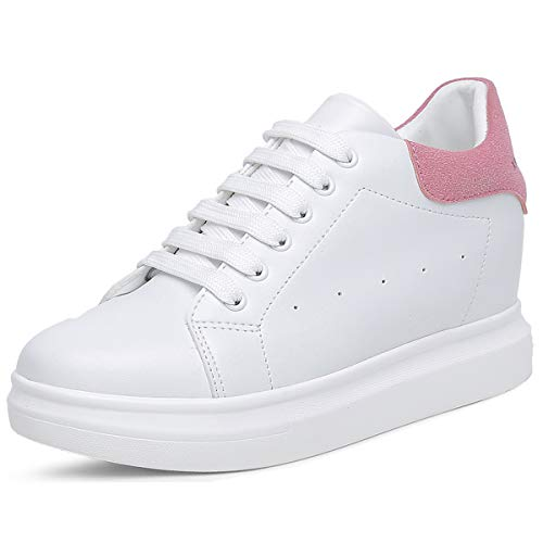 (TQGOLD Women's Platform Sneakers Wedges High Top Lace Up Shoes Increase Fashion Sneakers for Women Girls)