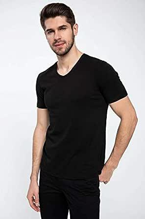 DeFacto Slim Fit V Yaka Basic T-shirt Siyah 3XL
