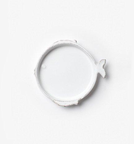 Vietri Lastra Fish White Canape Plate