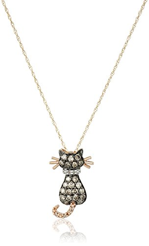 14k Rose Gold Brown and White Diamond Cat  (1/3 cttw, I-J Color and I2-I3 Clarity) Pendant Necklace, 18""