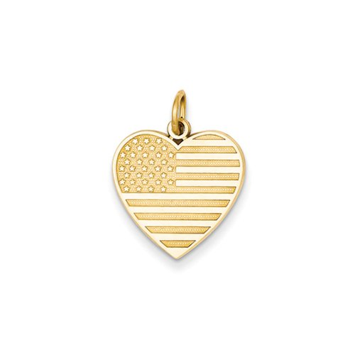 Gold American Flag Charm (14k Yellow Gold 16mm American Flag Heart Charm)