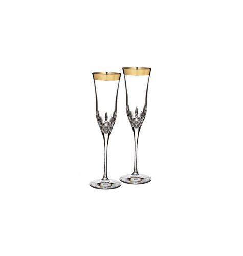 WATERFORD LISMORE ESSENCE GOLD Flute wide band pair by Waterford