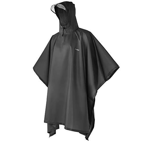 ANDAKE Raincoat Portable Reusable Rain Poncho,Waterproof Sunshade Tarp, Ground Mat Poncho Outdoor Women Men Black, Medium