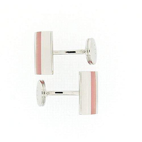 (The Olivia Collection 925 Silver Square Shaped Cufflinks with Pink Translucent Stripe by TOC)