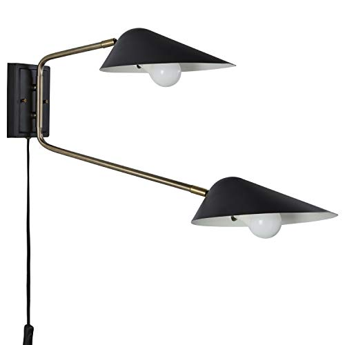 "Rivet Mid-Century Swiveling Wall Sconce with Bulb, 16.2""H, Antique Brass and Matte Black"