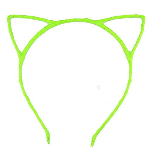 10Pcs/Lot Chic Infantile Girl Cat Ear Band Diy Hair Accessories Kids Headwear Headband For Women neon yellow ()