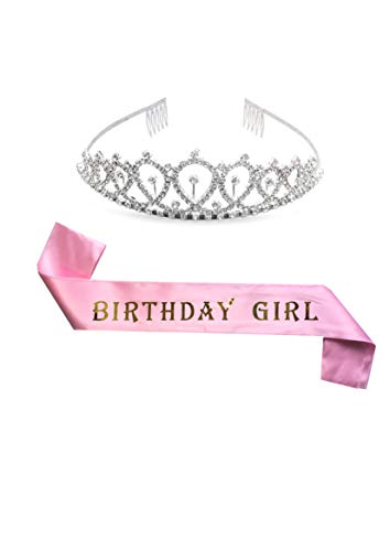 Pink Birthday Sash and Birthday Tiara 2-Piece Set - Birthday Girl Sash and Rhinestone Crown, 21st Birthday for Women, Happy Birthday Party Favors, Supplies, Decorations - By Siang Co