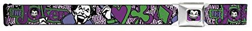 Buckle-Down Seatbelt Belt - Joker Face/Logo/Spades Black/White/Purple - 1.5