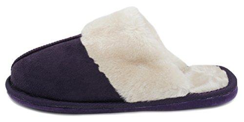 Slumberzzz, pantofole da donna in pelle scamosciata sintetica, foderate di pelliccia