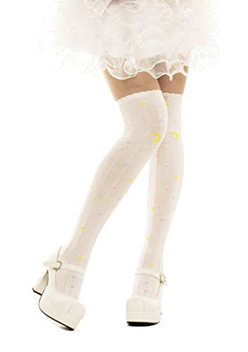 Lolta Charm Alice Collection Over Knee Socks-Moon Stars-White from Lolita Charm