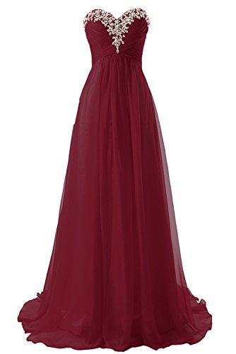 (JAEDEN Prom Dress Bridesmaid Dresses Long Chiffon Formal Evening Gown A line Burgundy US4)