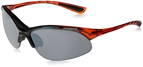 Safety Glasses Silver Mirror Lens - Shiny Black & Crystal Burnt Orange Frame ()