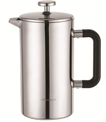 French Press Coffee and Tea Maker, Double Wall 304 Grade Stainless Steel Insulated Coffee Press, 34oz (1L), 2 Extra Filters Included, Rust-Free, Dishwasher Safe