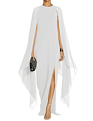 Alinemyer Womens Elegant High Split Formal Long Evening Gown Dress with Cape