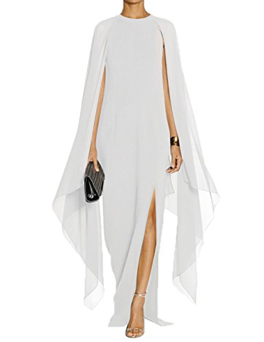 Alinemyer Womens Elegant High Split Formal Long Evening Gown Dress with Cape White XL