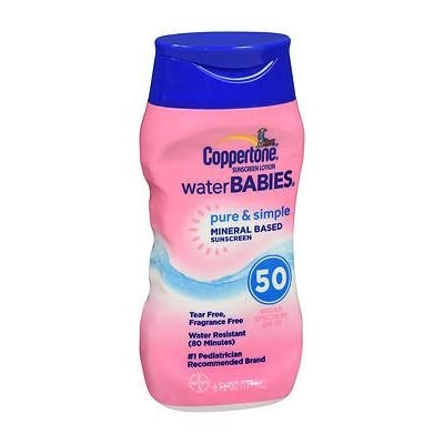 Coppertone Water Babies Pure & Simple Sunscreen Lotion SPF 50 - 6 oz, Pack of 3