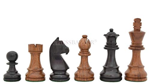 Tournament Series Staunton Chess Pieces with German Knight in Ebonized Boxwood & Sheesham Wood - 3.75