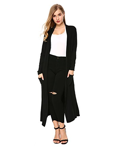 Mixfeer Womens Long Sleeve Open Front Long Maxi Cardigan Longline Duster Coat Black ()