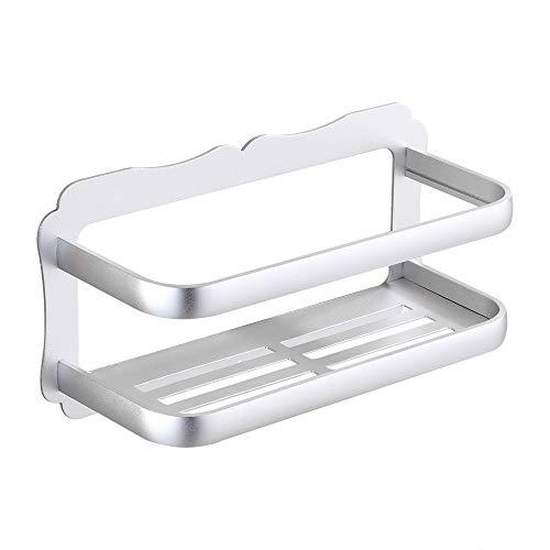 Gricol Bathroom Shower Shelf Wall Shower Caddy Space Aluminum Self Adhesive No Damage Wall Mount Silver