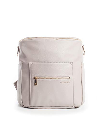 Fawn Design Original Diaper Bag Designed for Women - Backpack for Baby Essentials, Diapers, and Everyday Use - Premium Faux Leather, Interior/Exterior Pockets, Interchangeable Straps - 2017 Ed - Gray