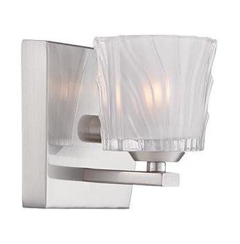 (Satin Platinum Volare 1 Light Reversible ADA Compliant Bathroom Sconce)