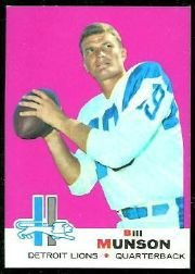 1969 NFL Topps Bill Munson (QB) Card # 11! Good Shape, Detroit Lions, Los Angeles Rams, Seattle Seahawks, San Diego Chargers, Buffalo Bills