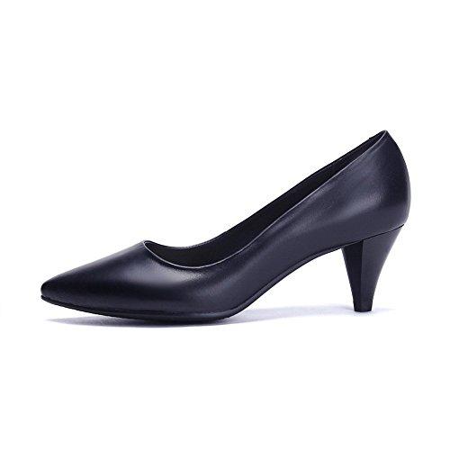 Balamasa Womens Teen-teen Pull-on Geïmiteerd Lederen Pumps-schoenen Zwart