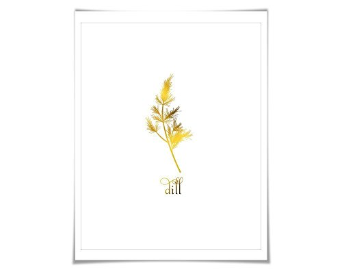 - Dill Gold Foil Art Print. 7 Foil Colours/3 Sizes. Spice Herb Wall Art, Kitchen Poster Cooking Food Chef Cook