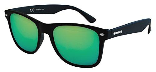 52 Gafas sol Negra Wayfarer Verde Wave de Eagle Espejo PqgzT
