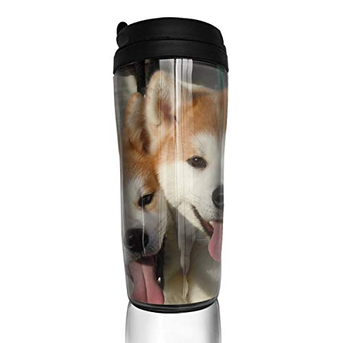 ZYGCMYX Akita Inu Dogs Tongue Sticking Out Printed Graphic Coffee Cup Insulated Travel Car Mug