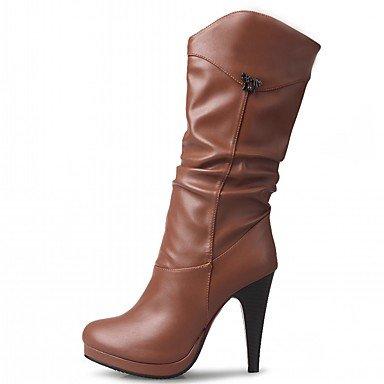 RTRY Zapatos De Mujer De Piel Sintética Pu Novedad Moda Otoño Invierno Confort Botas Botas Stiletto Talón Puntera Redonda Mid-Calf Botas Para Parte &Amp; Noche US12 / EU44 / UK10 / CN46