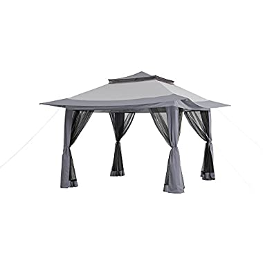 Sunjoy L-GZ849PST-A1-A-B 13' x 13' Pop-Up Canopy with Carrying Bag, Gray