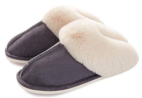 Womens Slipper Memory Foam Fluffy Soft Warm Slip On House Slippers,Anti-Skid Cozy Plush for Indoor Outdoor Dark Grey - Memory 0.375 Inch