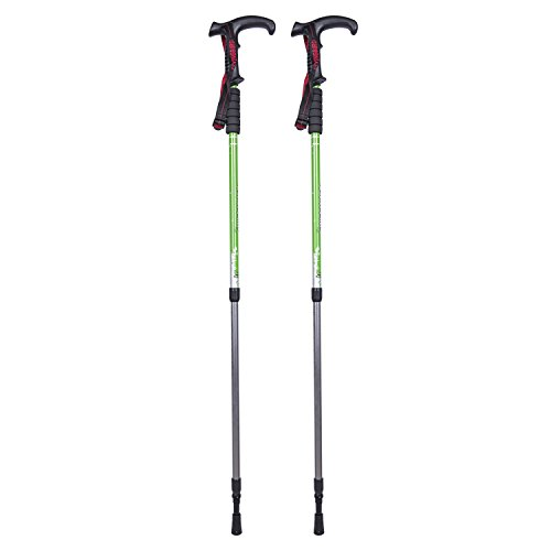 Pair of FLYINGBIRD Ultralight Aluminum Anti Shock Hiking Pole Walking Stick (Green)